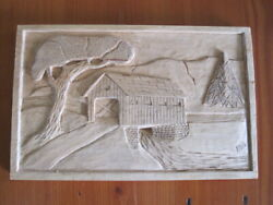 Hand Carved Covered Bridge Basswood Relief Carving Plaque