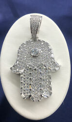 Solid 925 Sterling Silver Iced-out Evil Eye Hand Of God Hamsa Hand Pendant