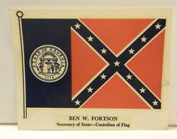 Vintage C1960and039s 70and039s Souvenir Travel Car Window Decal Georgia State Flag Unused