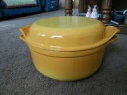 Vtg Staub Basix Enameled Cast Iron Dutch Oven Grill Pan Lid 24, Made In France