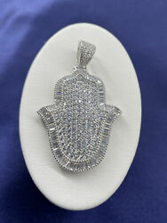 Solid 925 Sterling Silver Fully Iced-out Large Hand Of God Hamsa Pendant