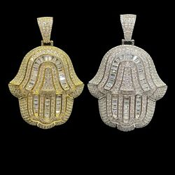 Real 925 Sterling Silver Hip Hop Iced Hand Of God Hamsa Pendant - Men And Women