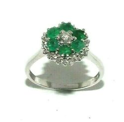 Ladies Beautiful 18ct White Gold Ring Set With Emeralds And Diamonds, Uk Size R