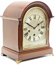Antique Solid Mahogany German Mantel Clock Westminster Chime Silver Dial