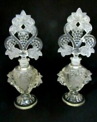 2 Antique Large Ornate Figural Flowers Clear Pressed Glass Perfume Bottles