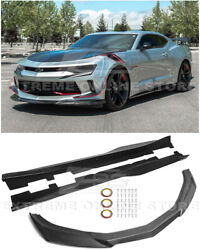 Zl1 Style Carbon Fiber Front Lip Splitter And Side Skirts For 16-18 Camaro Rs