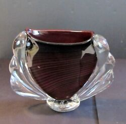 Unique Large Swirled Ruby Hand-blown Wing Drip Art Glass Vase Signed Dexter