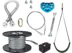 New Ziplinegear Spring Stop Zip Line Kit - Trolley With Swing Seat 100ft Cable