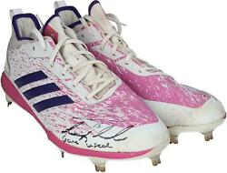 Tim Tebow Mets Signed Gu Pink And White Cleats - 2016-2019 And Insc - Aa0051578-79