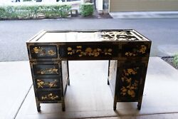 Chinese Antique Black Wooden Desk With Glass Top