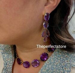 Natural Amethyst 925 Silver Wedding Choker Necklace Earrings Jewelry