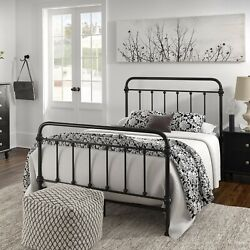 Full Size Bed Black Vintage Antique Iron Style Metal Headboard Footboard Frame