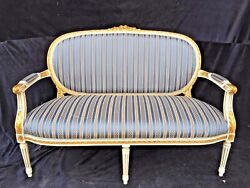 French Louis Xvi Style Sofa/settee With Antique Gold/white Finish Handcrafted W