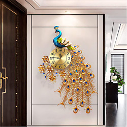 Large Peacock Wall Clock Metal Design Non Ticking Silent Art Digital Wall Clocks
