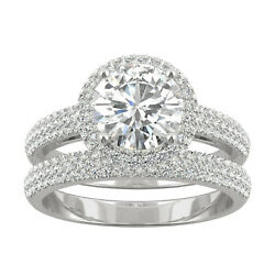 Gold Moissanite By Charles And Colvard 7.5mm Round Halo Bridal Set 2.54cttw Dew