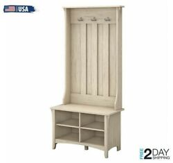 Entryway Hall Tree Bench Shoe Storage Coat Rack Solid Wood Hat Scarf Usa 2 Day