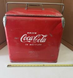 Vintage 1950s Drink Coca-cola Cooler By Acton W/ Bottle Opener And Drain