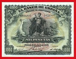 Scarce Xf Spain 1000 Pesetas 1907 And039and039 Alegoriasand039and039