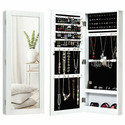 Mirrored Jewelry Cabinet Armoire Storage Organizer Wall Mounted Christmas Gift