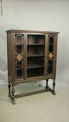 Antique 1920's Spanish Revival Hand Carved Walnut Cabinet W Glass Doors 13214