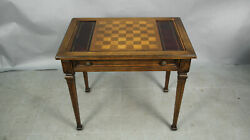 Antique 1900and039s Spanish Revival Tudor Game Table W Inlaid Chess Board 13222
