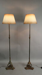Pair Of Antique 1920and039s Spanish Revival Tudor Floor Lamps W Paper Shades 13028