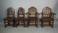 Antique 1920and039s Hand Carved Spanish Revival Tudor Dining Room Chairs Set 13051