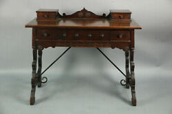 Antique 1920's Spanish Revival Hand Carved Walnut Desk W Iron Testle 13229