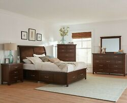 Rustic Transitional 5-piece Queen Bedroom Set With Storage Bed Cherry Brown