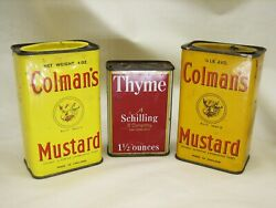 Three Vintage Spice Tins - 2 Colman's Mustard And 1 Schilling Thyme