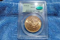 1875 S 20 Gold Liberty Type 2 Pcgs Ms60 Cac Old Green Holder