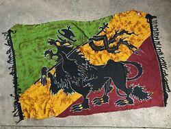 Rasta Lion Of Judah Giant Ethiopia Flag Wall Tapestry in good conditition big