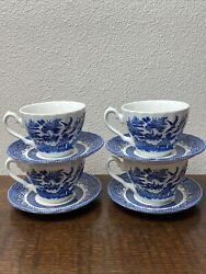 Blue Willow China Teacups By Crown Clarence Set Of 4
