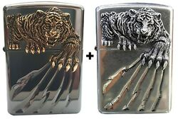 Zippo Lighter Tiger Claw Windproof Genuine Org Packing Set 6 Flints Free Gift