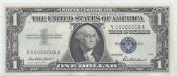 1957 1 Silver Certificate 00000008 Rare Lucky Number 8 Fancy Low Serial