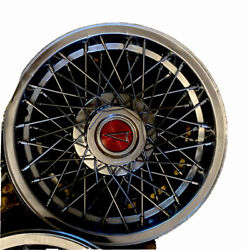 1970andrsquos Spokes Pontiac Hub Caps For 15 Inch Tire Cars Red Center Lot Of 4