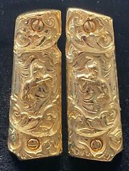 1911 Colt Cachas Full Size 24k-gold-plated Pistol Grips Government- Free Screws