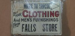 Falls Store Old Tin Canadiana Sign Antique Tin Ontario Business Advertisement