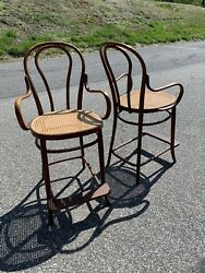 Heywood Wakefield Cane Wood Bar Stools Chairs Mid Century Modern Vintage Antique