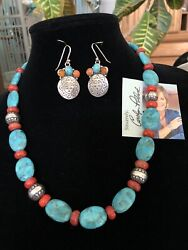 """Carolyn Pollack Aw Kingman Blue Turquoise 925 Native Pearl Face Coral 17-20"""" Qvc"""