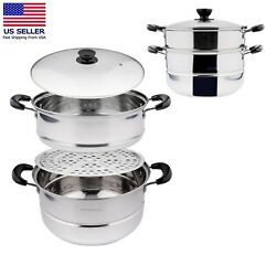 2 Tier Stainless Steel Stackable Cookware Food Steamer Pot Wt.rack And Basket Tray