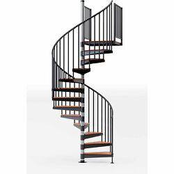 Reroute 42h Platform Rail Spiral Stair Kit 60 Dia 13-1/3and039h Oak Covers