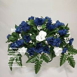 Navy Ivory Rose Flower Saddle Grave Cemetery Headstone Memorial Flowers