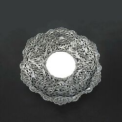 German 1900 800 Silver Pierced Openwork Low Compote Bowl Bird And Garland Design