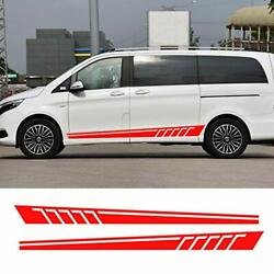 Racing Side Stripes Logos Decals Stickers Vinyl Graphics For Mercedes Red