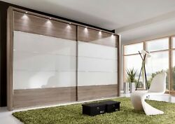 High End German Sliding Wardrobe Bedroom White Grey Mirrored Glass Fitted Free