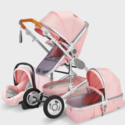 2021 Baby Stroller 3 In 1 Hot Mom Pink Baby Stroller Safety Seat And Stroller