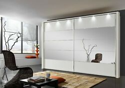 Quality German Mobel Sliding Wardrobe Bedroom White Mirror Grey Fitted Free New