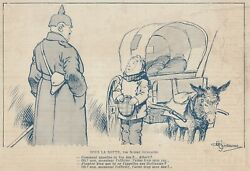 G6033 The Wars In Caricatures - Sous The Barrel - 1917 Vintage Print - Print