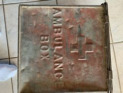 wwi Metal Ambulance Box - Med Dept Usa - Red Cross - Union Made Label